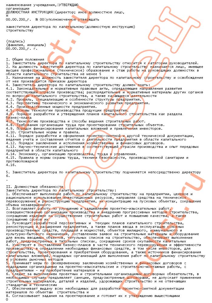 Заместитель Генерального Директора Инструкция